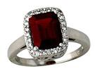 Emerald Cut Garnet and Diamond Ring - 14K White Gold